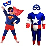 Combo Offer Superman + Captain America Costume Fancy Dress | Fancy Dress Costume Costume | Cosplay Carnival Costumes For Children | Fancy Dress Competition | B'day Party | Birthday Gift | B'day Gift | Baby Show | Halloween Costume | Kindergarden | Fancy D