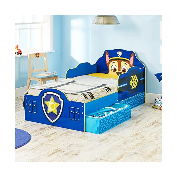 Paw Patrol Chase Kids Toddler Bed with Underbed Storage by HelloHome Paw Patrol Ideal transition from cot to bed - make the move to their first big bed magical with the Paw Patrol toddler bed with underbed storage from HelloHome, featuring Chase Takes cot bed size mattress - 140 (l) x 70 cm (w). Mattress not included. Assembled size (h) 68, (w) 77, (l) 145 cm Suitable for 18 months to 5 years, this blue kids bed is for your little Paw Patrol and Chase fan 7