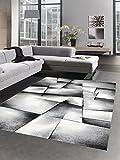 Moderner Teppich Kurzflor Wohnzimmerteppich Konturenschnitt karo abstrakt grau schwarz weiss Größe 120x170 cm