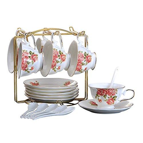 ufengke 180ml Blumenmuster Kaffeeservice Knochenporzellan Kaffeetasse Mit Untertasse Sets, Ein Satz...