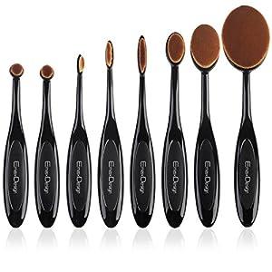 EmaxDesign ovalada Juego de brochas de maquillaje 8pcs Profesional Fundación Corrector Blending Blush líquido Polvo…