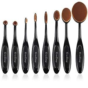EmaxDesign Ovale-Set pennelli, con 8 pennelli professionali Concealer fondotinta liquido rosa polvere Crema Cosmetics pennelli trucco Tools Curve Spazzolino per pelle e gli occhi.