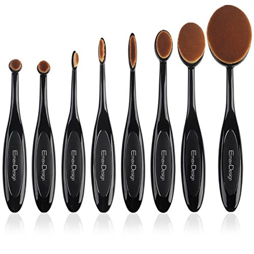 EmaxDesign Oval Make-up Pinsel Set,8 Stück Professionelle Foundation Concealer Verblender Pinsel Flüssiges Pulver Creme Kosmetik Pinsel,...
