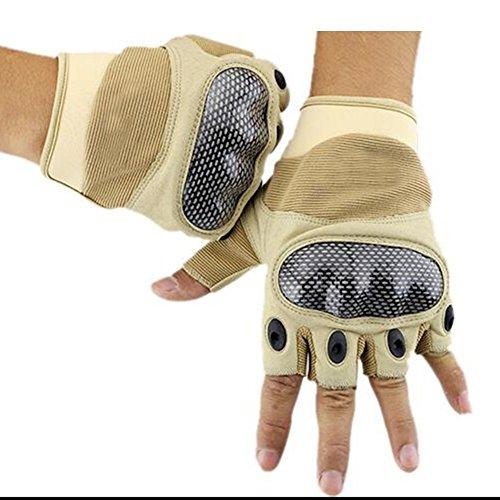 DNSJB Fitness Handschuhe Männer und Frauen Sport Halbe Fingerhandschuhe Outdoor Handgelenkstraining Gewichtheben Rutschfeste Handschuhe (Farbe : Beige, größe : XL)