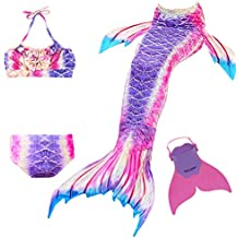 Cola de Sirena para Natación Traje de Baño 4pcs Mermaid Bikini con Monofín Establece para Niña