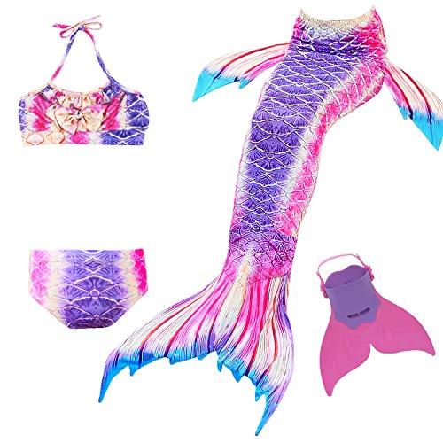 Cola de Sirena para Natación Traje de Baño 4pcs Mermaid Bikini con Monofín Establece para Niña Disfraz de Sirena Princesa Cosplay Conjuntos (Morado, 140)