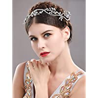 handcess brillantes diadema boda novia pelo corona de vid corona y tiara para novia y de dama