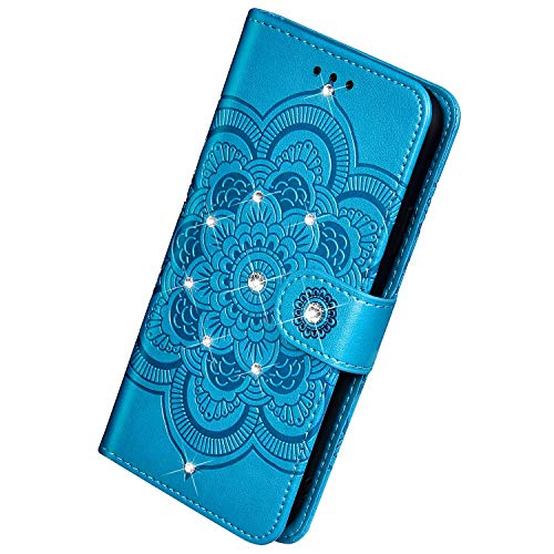 Herbests Kompatibel mit Samsung Galaxy A20S Handyhülle Handytasche Mandala Blumen Muster Leder Hülle Strass Diamant Bling Glitzer Glänzend Schutzhülle Flipcase Hülle Kartenfächer Magnet,Blau
