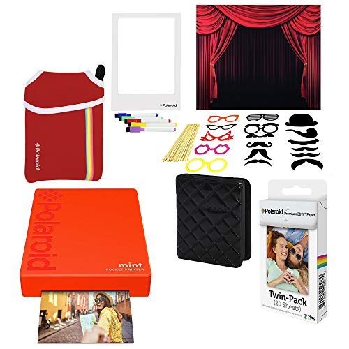 Polaroid Mint Tragbarer Fotodrucker (Rot) Photo Booth Bundle