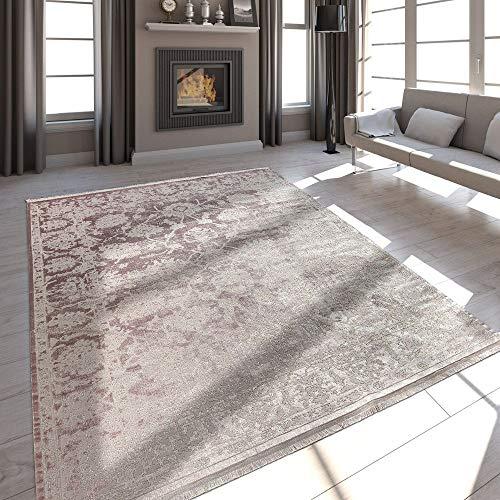 Paco Home Hochwertiger Wohnzimmer Teppich Moderne Satin Optik Barock Design Fransen Rosa,...