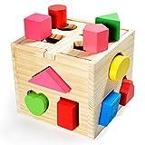 Steckwürfel aus Holz Spielzeug-Würfel-Puzzle Steckbox für Baby & Kleinkind; Holzspielzeug trainiert Motorik, Lernspielzeug zur Förderung von Formerkennung und Konzentration hergestellt von Goods & Gadgets