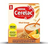 Nestle Cerelac Fortified Baby Cereal with Milk, Wheat Orange - From 8 Months, 300g BIB Pack