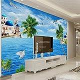 Guyuell Personalizzato 3D Mediterraneo Stile Muro Mediterraneo Paesaggio Carta Da Parati Paesaggio Marino Carta Da Parati Murale Per La Casa-400Cmx280Cm