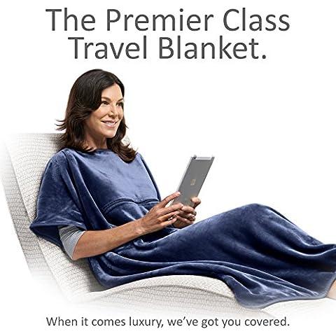 Travelrest - 4-in-1 Coperta Premier Class Travel con tasca. Copre le spalle. Morbido e lussuoso.