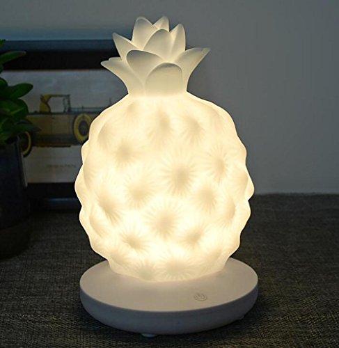ischlampe Nachttischlampe Ananas Nachtlicht Romantische AtmosphäRe Dritter Gang BerüHren Silikon Licht , white (Alle White Party Thema)