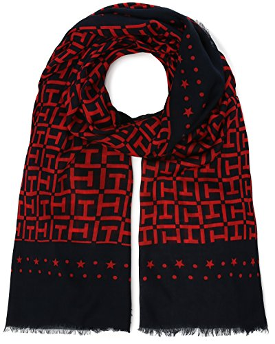 Tommy Hilfiger Damen Schal TH Monogram Scarf, Blau (Tommy Navy-Tommy Red 904), One Size (H Preisvergleich