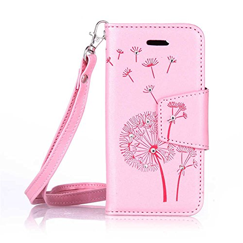iPhone 5 5S SE Coque, LANDEE PU Leather Bling Bling Gaufrage Etui Housse Flip Case Coque Pour iPhone 5 / iPhone 5S / iPhone SE (5S-P-0612) 5S-P-0608