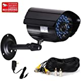 VideoSecu Bullet Security Camera 520TVL IR Cut Filter Outdoor Day Night Vision Weatherproof Home CCTV Surveillance with Power Supply and Extension Cable IR807B AA2