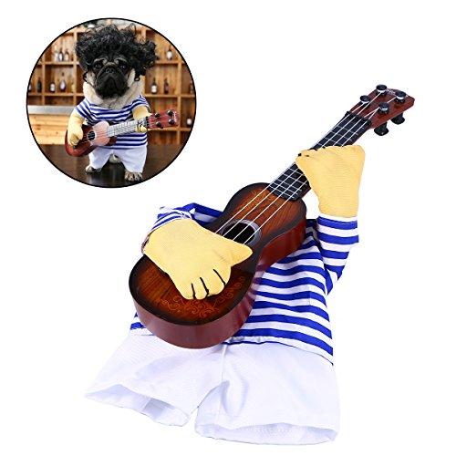 dung-lustige Sänger-Welpen-Kostüm-Hundekatze, die Gitarren-Fantasie-Kostüm Halloween Coslay-Partei-Weihnachtsgeschenk spielt Größe M für Hund innerhalb 5kg (Halloween-kostüm Hund)