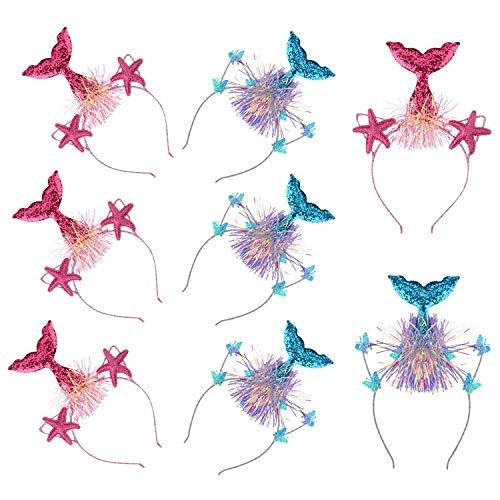 Pa 6 Stück Meerjungfrau Stirnband Glitzer Meerjungfrau Schwanz Haarschmuck für Teen Mädchen Thema Geburtstag Halloween Cosplay Kostüm Kopf Haarband Party Supplies ()
