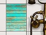 creatisto Fliesen Folie Sticker Aufkleber selbstklebend | Fliesenmosaik Dekoaufkleber Badezimmer renovieren Küche Fototapete selbstklebend | 15x20 cm Muster Ornament Wooden Aqua - 1 Stück