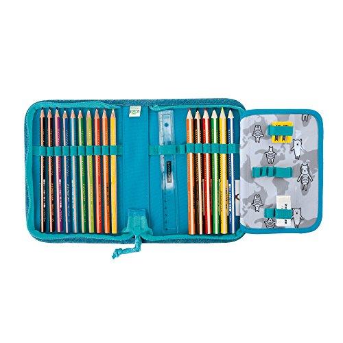 Lässig Mini Pencil Case Stifteetui Stiftetasche Federmäppchen Federtäschchen Mäppchen Schule Vorschule Kindergarten, Dino slate blau