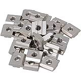 cnbtr plata Europea estándar 30Serie Aluminio ranura de acero al carbono de la mitad Ronda rollo en deslizante T Ranura Tuerca Pack de 30, plateado