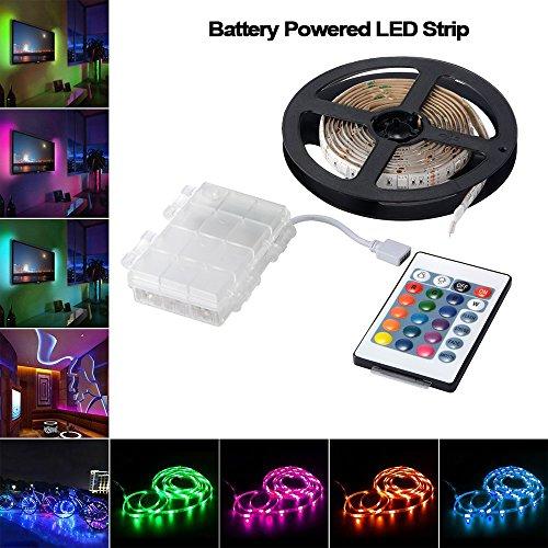Luces de tira LED con batería con control remoto y caja de batería impermeable, 16 colores 2M / 6.56ft Tira de luces LED flexible y resistente al agua, RGB 5050 LED Bias Lighting Luz de fondo de TV para decoración interior de interior para el hogar