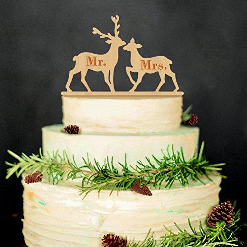 Hirsch Toppers Hochzeitstorte (WINOMO Holz Cake Topper für Kuchen Dekorationen Mr and Mrs(Holz Farbe))