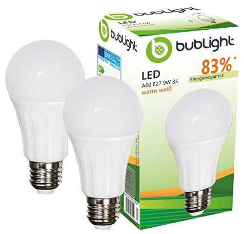 2x Bublight LED Lampen E27 9W, ersetzt 55W Glühbirnen, Energieklasse A+ (E-A ++), 3000 Kelvin warmweiß