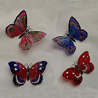 Kühlschrank-Magnet Schmetterling Glas 4 Stück handbemalt