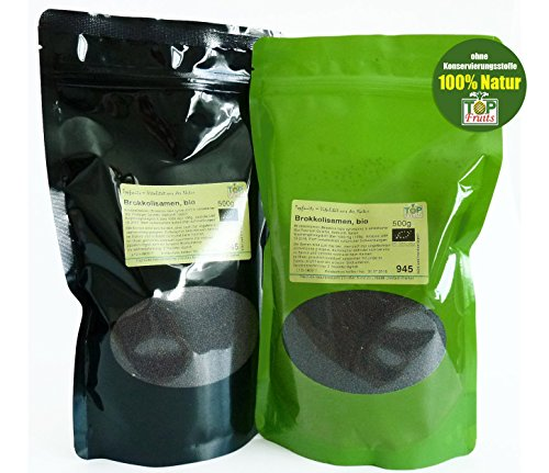Topfruits Brokkolisamen (Sorte Rabe), bio kbA, 500g - Top- Sulforaphangehalt, für Brokkolisprossen und Direktverzehr (umfangreiche Verwendungshinweise), geprüfte Qualität -