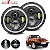 AllExtreme 7 Inch Round LED Headlight Stylish Halo Angle Eyes + Signal for Jeep 97-16 Wrangler JK LJ TJ (Pack of 2)