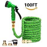 LifenC 30m Tubo da giardino, tubo magico flessibile ed estendibile con raccordi in ottone massiccio & pistola a spruzzo verde | Tubo super leggero espandibile | Spray a 7 modalità