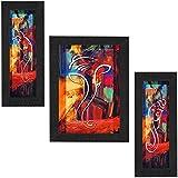 SAF Set of 3 Ganesha UV Coated Home Decorative Gift Item Framed Painting 13.5 inch X 22.5 inch