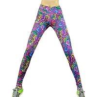 Donna Leggings Elasticizzati da Corsa Sport Pantaloni Vita media stampato Yoga Fitness Palestra Pantaloni
