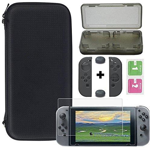 Fjiujin,Nero Portabable Kit da Viaggio W/Pouch + Screen Protector per Nintendo Switch(Color:Nero)
