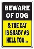 WallAdorn Beware - Póster de Perro y Gato con Texto en inglés Dog & Cat Is...