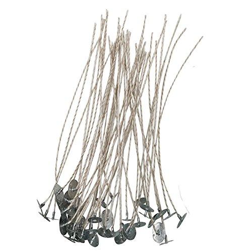 Homankit 100 unidades 20 cm Bajo Humo Cera de soja natural de vela mecha, algodón & papel verwoben Núcleo para fabricar velas