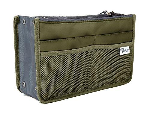 Periea - Organiseur de sac à main, 12 Compartiments - Chelsy (20 Couleurs) (Moyen: H17.5 x L28 x P2-16cm, Armée verte)