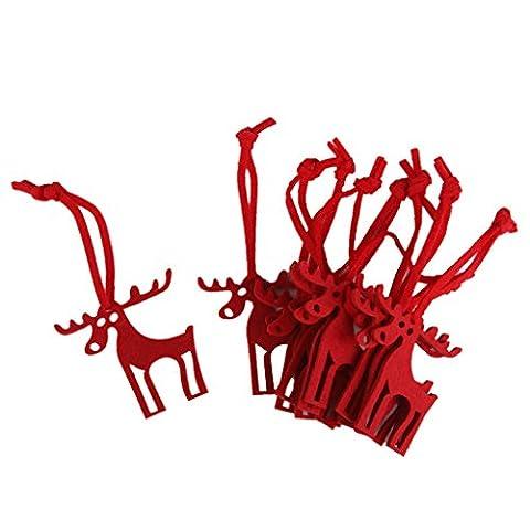 10 X Sikawild Form Fühlte Weihnachtsbäume Ornament Dekor Aufhänger Handwerk Rot