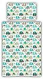 Kinderbettwäsche Elefanten 2-tlg. 100% Baumwolle 40x60 + 100x135 cm mit Reißverschluss (jade)