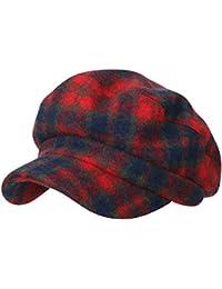 ililily Tartan Checkered Flat Top Newsboy Cabbie Cap Duck Bill Flat Hunting Hat