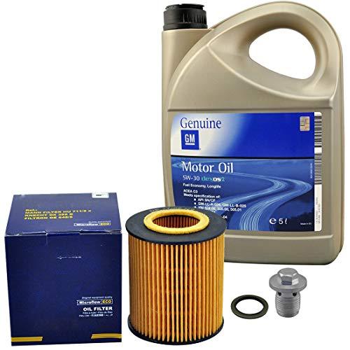 Inspektionspaket SCT Ölfilter 5Liter Original GM Öl Dexos2 inkl Ölablassschraube