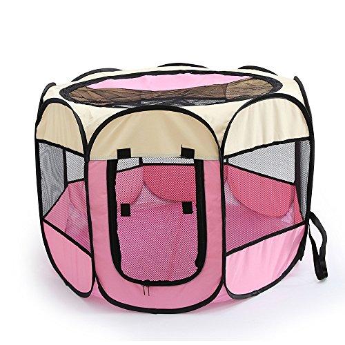PENIVO 6 Farben-tragbares faltendes Hundehaus,Haustier Hund / Katze zelt Cage Puppy Home Kennel Achteckigen Zaun im freien Pet Übung Spielen Käfig Laufställe (90cm, Pink)