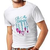 lepni.me Camisetas Hombre Be my Valentín - Amor Cita, Regalos del día de San Valentín (Large Blanco Azul)