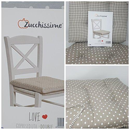 Set 6 cuscini coprisedia cucina pois bianco fondo tortora 40×40 spessore 5 cm double face , copri sedia cucina, alfionapoli