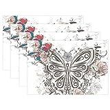 SENNSEE Vintage Schmetterling Floral Tisch-Sets Home Teller Fußmatte für Esstisch hitzebeständig Küche Tisch Matte Kinder 30,5x 45,7cm, Polyester, Mehrfarbig, 12x18 x6 Piece