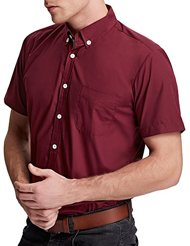 Paul Jones® Stilvolle Slim Fit Kurzarm Freizeithemden Modisches Businesshemd Casual Shirt Weinrot
