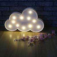 Marquesina de Lámpara nocturna de nube con 11 leds, funciona con pilas, luz blanca y azul para decoración de Navidad, regalo para niños, color blanco